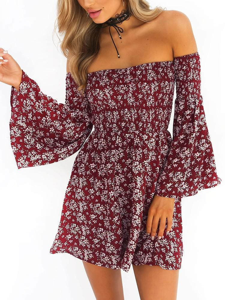 Ruched Off Shoulder Flare Sleeve Printed Mini Dress