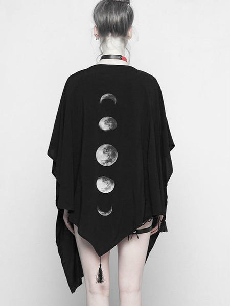 Women Gothic Black Moon  Shape Printed Cardigan