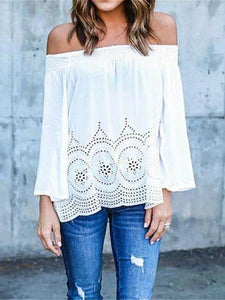 Crochet Openwork Shoulder-length Collar Lace Long Sleeve Shirt T-shirt