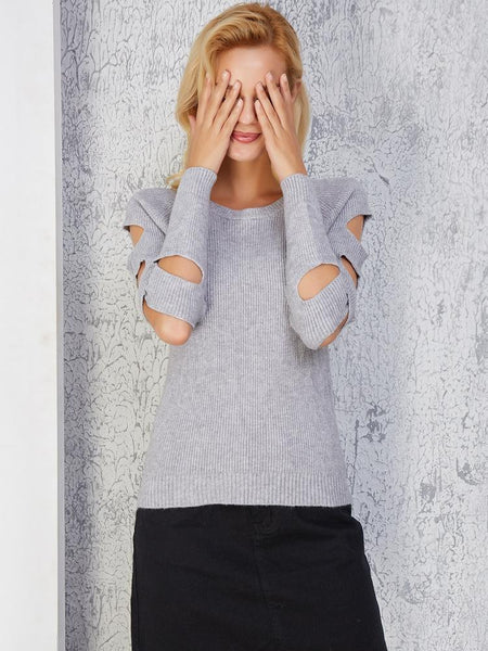 Knitted Sleeve Side Hollow Sweater