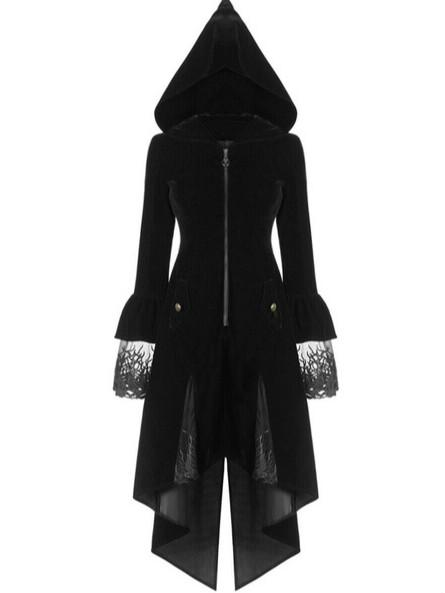 Autumn and Winter Trim Long Vintage Gothic Medieval Windbreaker Coat