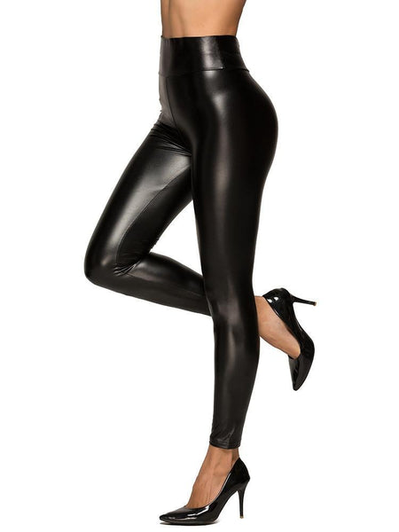 Women Punk Faux Leather Slim Pants High Waist Stretchy Skinny Trousers