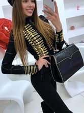 Load image into Gallery viewer, Women's Bandage Button Black Zipper Long Sleeve Jacket Fashion Celebrity Women's Overcoat