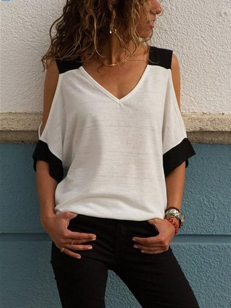 Summer Tshirt for Women New Fashion Sexy Off Shoulder V-Neck T-Shirt Women Black White Patchwork Top Tees
