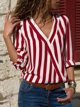 Load image into Gallery viewer, Long-sleeved V-neck Striped Blouse for Ladies