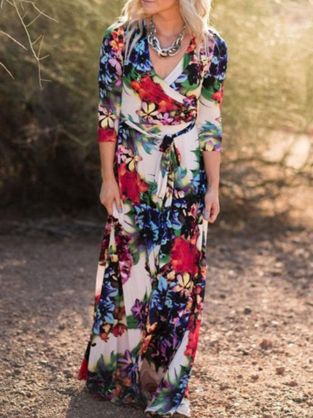 Fashion V-neck Long Sleeves Maxi Dress