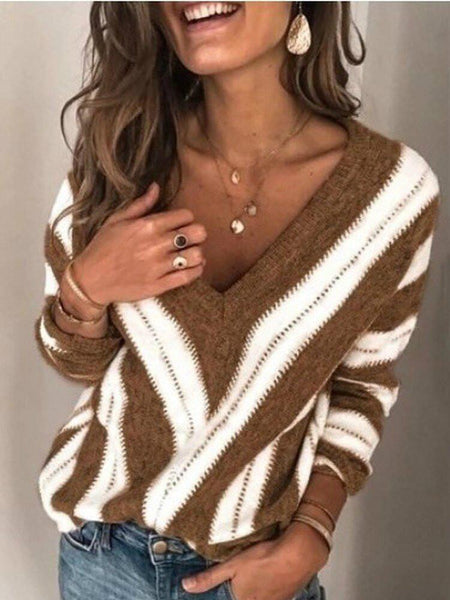 Women Sweaters Deep V Neck Vintage Striped Long Sleeve Knit Pullover Sweaters