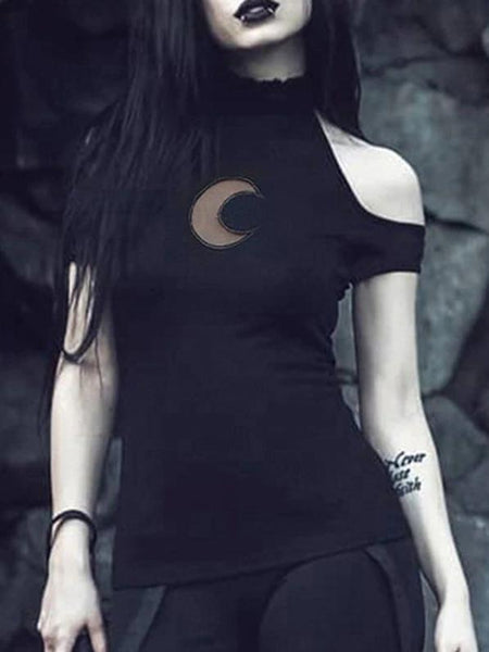 Off Shoulder Black Halter T-shirts Women Gothic Punk Moon Hollow Out Bodycon Tops