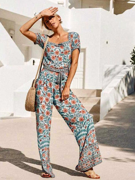 Boho Inspired floral print Jumpsuit summer Wide Leg Square Neck cotton romper women  chic boho jumpsuit casual beach clothes