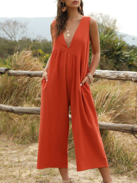 Deep V-strap Front and Back Jumpsuit