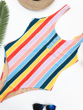 Load image into Gallery viewer, Bikini Swimming Suite Striped Conjoined Swimwear