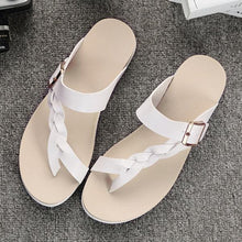 Load image into Gallery viewer, Leather Knitting Weave Buckle Clip Toe Flat Open Heel Flip Flops Sandals