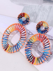 Hand-woven Rafah Bohemian Wind Multi-layer Round Earrings
