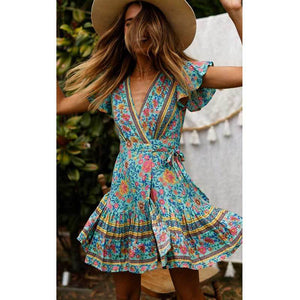 Boho V-neck Turquoise Floral Print Ruffles Mini Dress