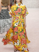 Load image into Gallery viewer, Printed Yellow Large Swing Long Dress