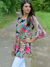 Load image into Gallery viewer, Boho Floral-Print Long Sleeve Off-Shoulder Round Neck Mini Dress