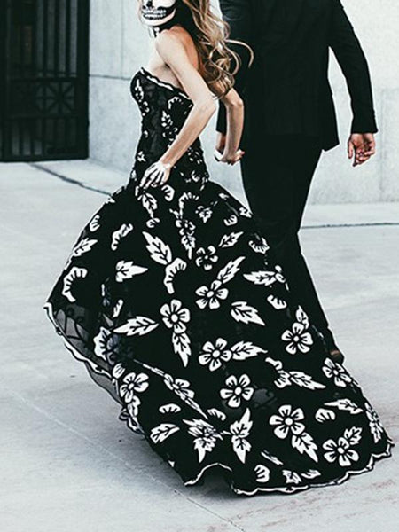 Halloween Black Print Long Dress