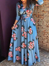 Load image into Gallery viewer, Long Sleeve Floral V Neck Slim Waist Maxi Dress with Belt