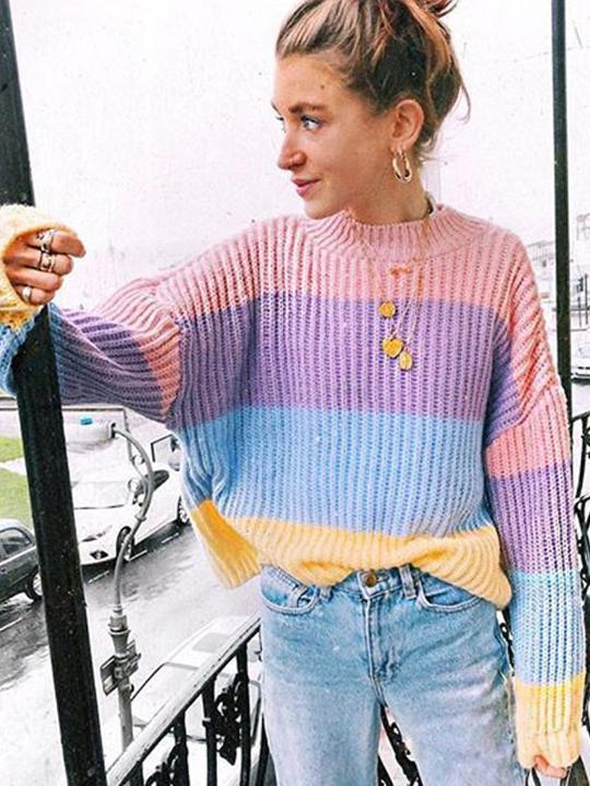 Cute Oversized Knitted Macaron Colors Winter Pullover Sweater