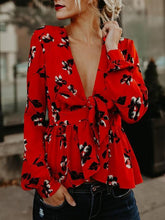Load image into Gallery viewer, Floral Red Long Sleeve V-Neck Autumn Shirt Tops