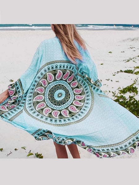 Loose Large Size Long Cardigan Bikini beach sunscreen Cover-up