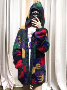 Autumn And Winter Colorful Knit Cardigan Lazy Wind Hooded Coat