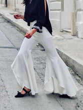 Load image into Gallery viewer, Bohemian Asymmetrical White Opened Flare Pants