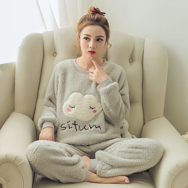 Women pajamas set Women Pyjamas Thick Flannel Cute Sheep Female Warm Winter Pajama Set Long Sleeve Full Trousers Two Piece 2020