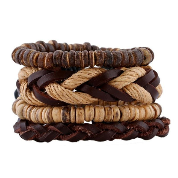 Top layer cowhide bracelet exotic vintage hand woven multi-layer leather bracelet jewelry