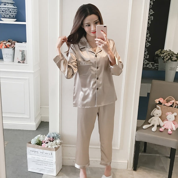 Women Silk Pajama Sets Satin Pyjama Sleepwear Long Sleeve Large Size Fashion Pajamas for girl Nightwear Suit Home