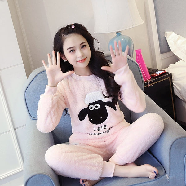 Autumn Winter Warm Flannel Women Pyjamas Sets Thick Coral Velvet Long Sleeve Cartoon Sleepwear Thin Flannel Pajamas Set for Girl