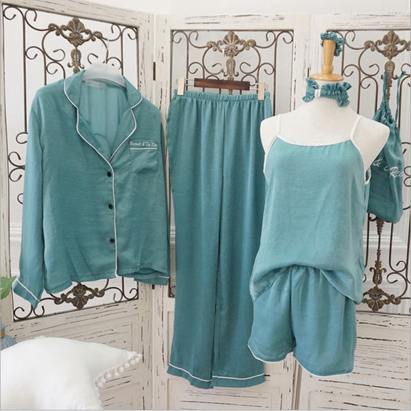 Women pajamas 7 pieces set silk long sleeve high elastic waist pants full lounge women sleepwear sets spring summer home clothes