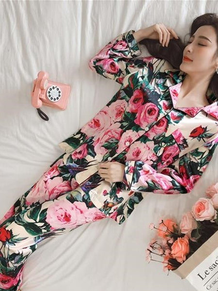 Women Pajamas Faux Silk Sleepwear Satin Pajamas Set Flower Print Long Sleeves 2 Piece Autumn Winter Homewear