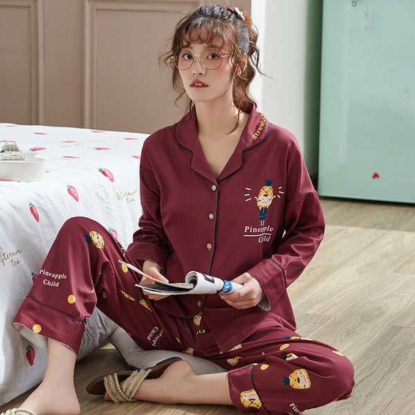 Women's Clothing for Autumn Winter Pajamas sets round neck sleepwear lovely rabbit Pajamas Women long sleeve cotton Sexy Pajamas Female