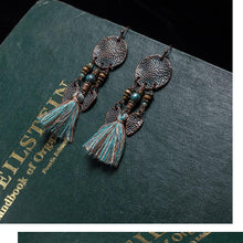 Load image into Gallery viewer, Antique Vintage Bohemian Ethnic Tassel Fringe Leaf Stones Earrings