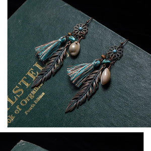 Antique Vintage Bohemian Ethnic Tassel Fringe Leaf Stones Earrings
