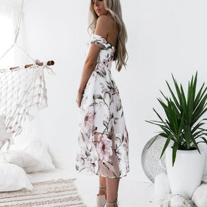 One-neck Printed Midi Dress