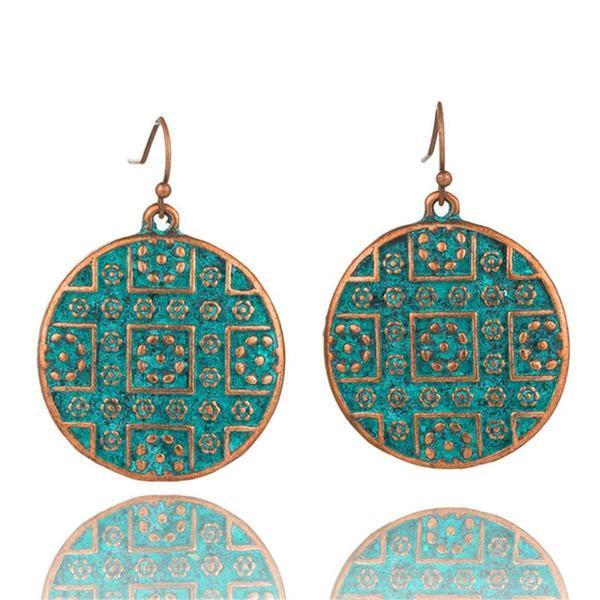 Round Shape Bohemian Statement Exaggerated antique Green metal Earrings