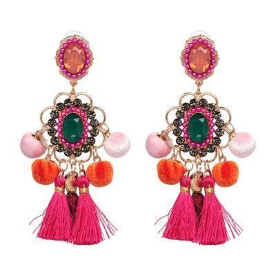 Colorful Drop Hairball Pompom Handmade Tassel Dangle Bohemian Big Earrings