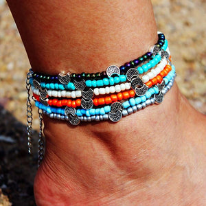 Bohemia Beads Vintage Leather Rope Leg Anklet Moon Sun Charm Beach Jewelry