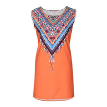 Load image into Gallery viewer, Women Boho Feather Print Summer Sleeveless Beach Short Mini Dress