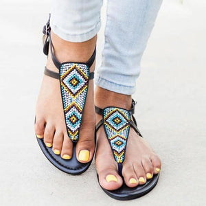 Summer Women Fashion String Bead Casual Flats Roma Sandals