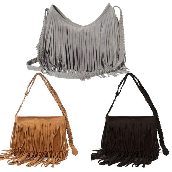 Fashion Boho Women Suede Weave Tassel Shoulder Bag