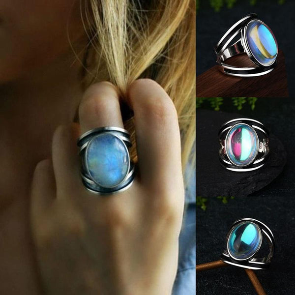 Women Big Moonstone Ring Unique Style Color Wedding Jewelry Promise Engagement Rings