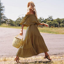 Load image into Gallery viewer, Boho Vintage Bohemian Tassel Ruffles Off Shoulder Lantern Sleeve Maxi Dresses