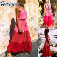 Load image into Gallery viewer, Casual Boho Sleveless Square Collar High Waist Loose Patchwork Maxi Dress