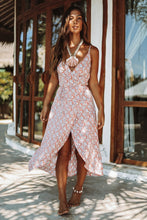Load image into Gallery viewer, Vintage Summer Boho Print V Neck Backless Strap Midi Dress