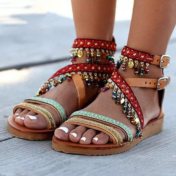 Summer women beach flats sandals handmade string bead bohemian ladies shoes