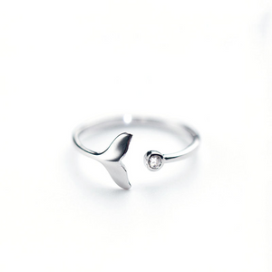 Cubic Zircon White Fish Adjustable Rings for Woman