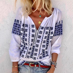 Bohemian V Neck Casual Plus Size Blouse Tops